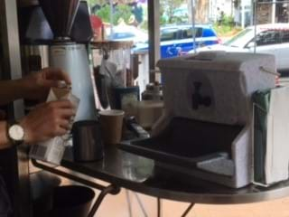 Coffee cart with Handeman hand wash station