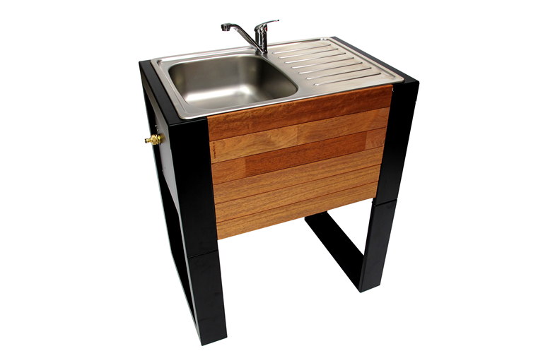 Australian made portable outdoor sink - wood panelling